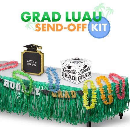 Party City Graduation Luau Send-Off Kit, Includes Leis and a Grass Table - Grass Skirts And Leis