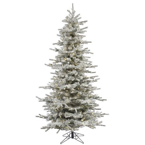 The Holiday Aisle 4.5' Flocked Slim Sierra Artificial Christmas Tree with 250 LED Warm White Lights