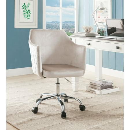 Velvet Upholstered Swivel Office Chair With Adjustable