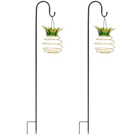 Pineapple Garden - Best Choice Products Best Choice Product Set of 2 Solar-Powered Hanging Pineapple Lights Decor for Garden, Patio w/ Metal Hook Rods - Yellow
