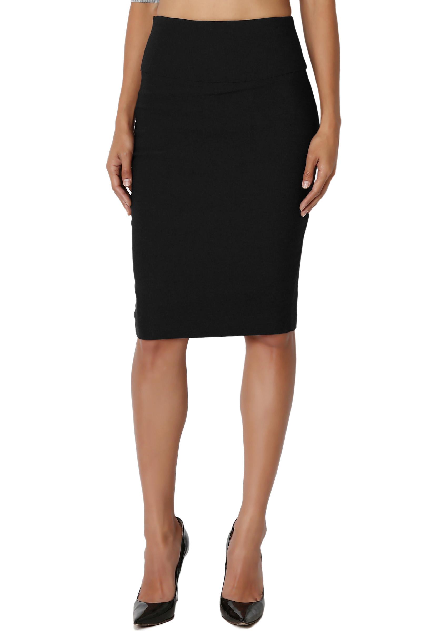 TheMogan Junior's S~3X High Waist Stretch Woven Casual to Formal Pencil Midi Skirt