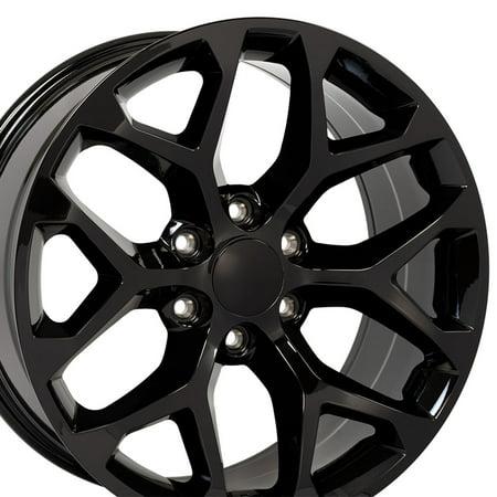 Stock Truck Rims - 20x9 Wheel Fits GM Trucks - GMC Sierra Style Gloss Black Rim, Hollander 5668