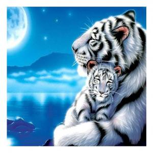 Tiger Cross Stitch Pattern - Fancyleo 5D DIY Diamond Painting Cute Tiger Rhinestone Embroidery Cross Stitch Arts Crafts Home Wall Decor