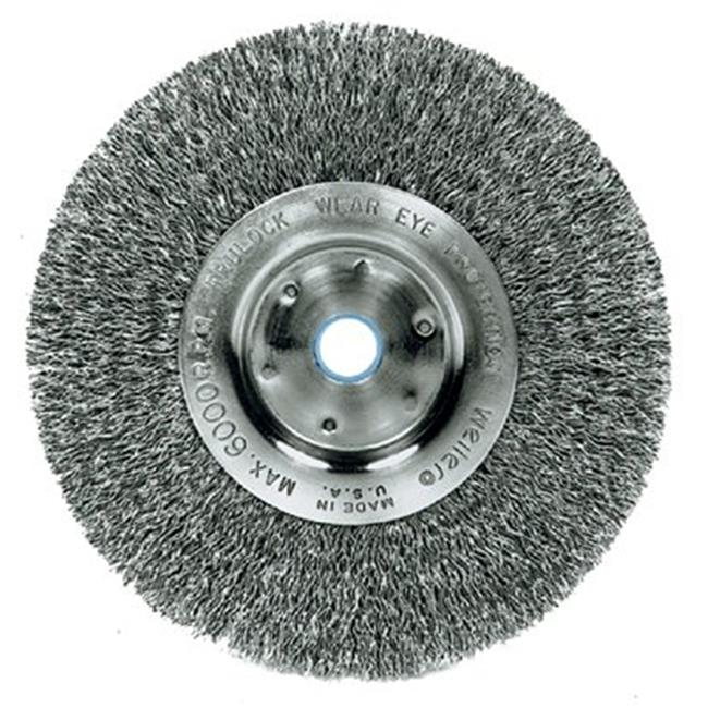 Weiler 804-00154 4 inch Narrow Crimped Wire Wheel, . 006 Ss, . 50 inch-. 38 inch A. H.  -