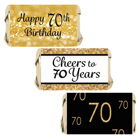 70th Birthday Candy Wrapper Stickers 54ct | Black and Gold Party Favor Decoration Labels (Black And Gold Birthday)