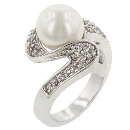 Genuine Rhodium Plated Fashion Ring with White Pearl and Round Cut Clear CZ in a Pave Setting in Silvertone- Size 5