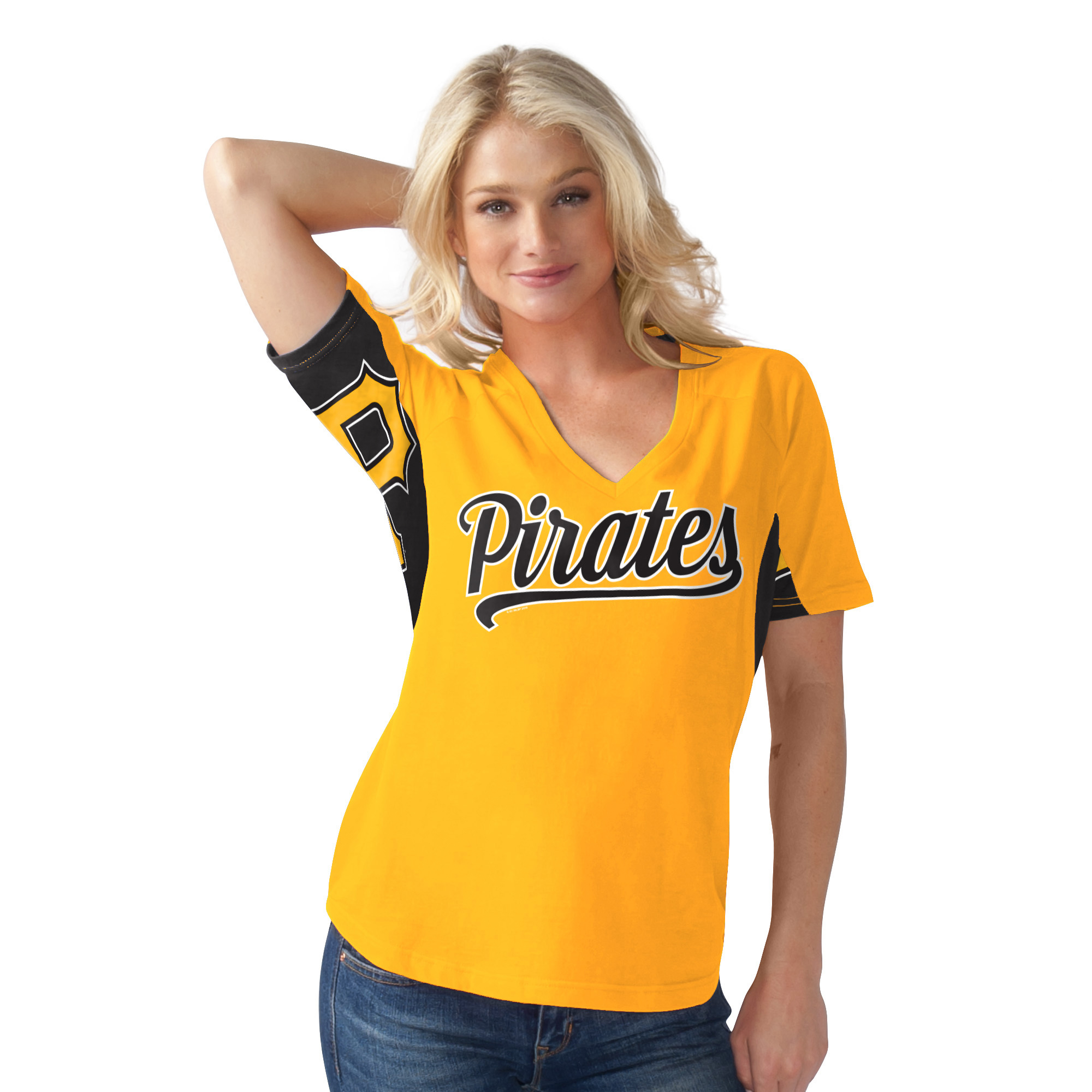 Women's G-III Sports by Carl Banks Yellow Pittsburgh Pirates Hands High Break the Bat T-Shirt