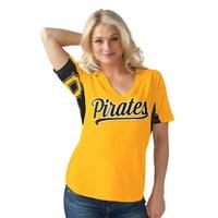 Women's G-III Sports by Carl Banks Yellow Pittsburgh Pirates Hands High Break the Bat T-Shirt