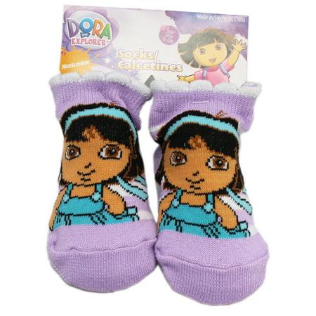 Dora the Explorer Lavender Colored Baby Bootie Socks (1 Pair, 6-12 Months)
