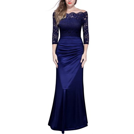 MIUSOL Women's Off Shoulder Long Dress with Lace Sleeve,Formal Evening Cocktail Party Ball