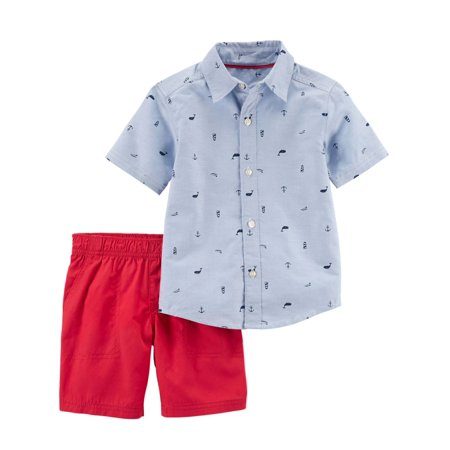 9490d23a3 Carters Infant Boys Blue Whale & Anchor Baby Outfit Shirt & Coral Shorts  Set - Walmart.com