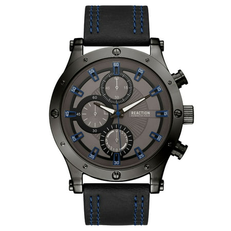 - Kenneth Cole Reaction Men's Black Case Gunmetal Dial Black Synthetic Leather Strap Watch