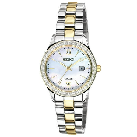 Women's Solar Two Tone Mother of Pearl Dress (Mother Of Pearl Wrist Watch)