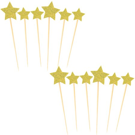 Party Cupcake Star Shaped DIY Glittery Toothpicks Picks Topper Gold Tone 12 in 1