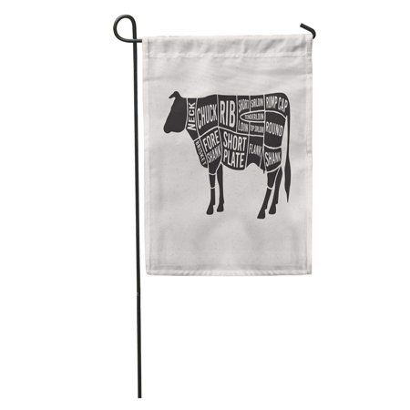 LADDKE Cow Meat Cuts Diagrams for Butcher Scheme of Beef Silhouette Butchery Part Garden Flag Decorative Flag House Banner 12x18
