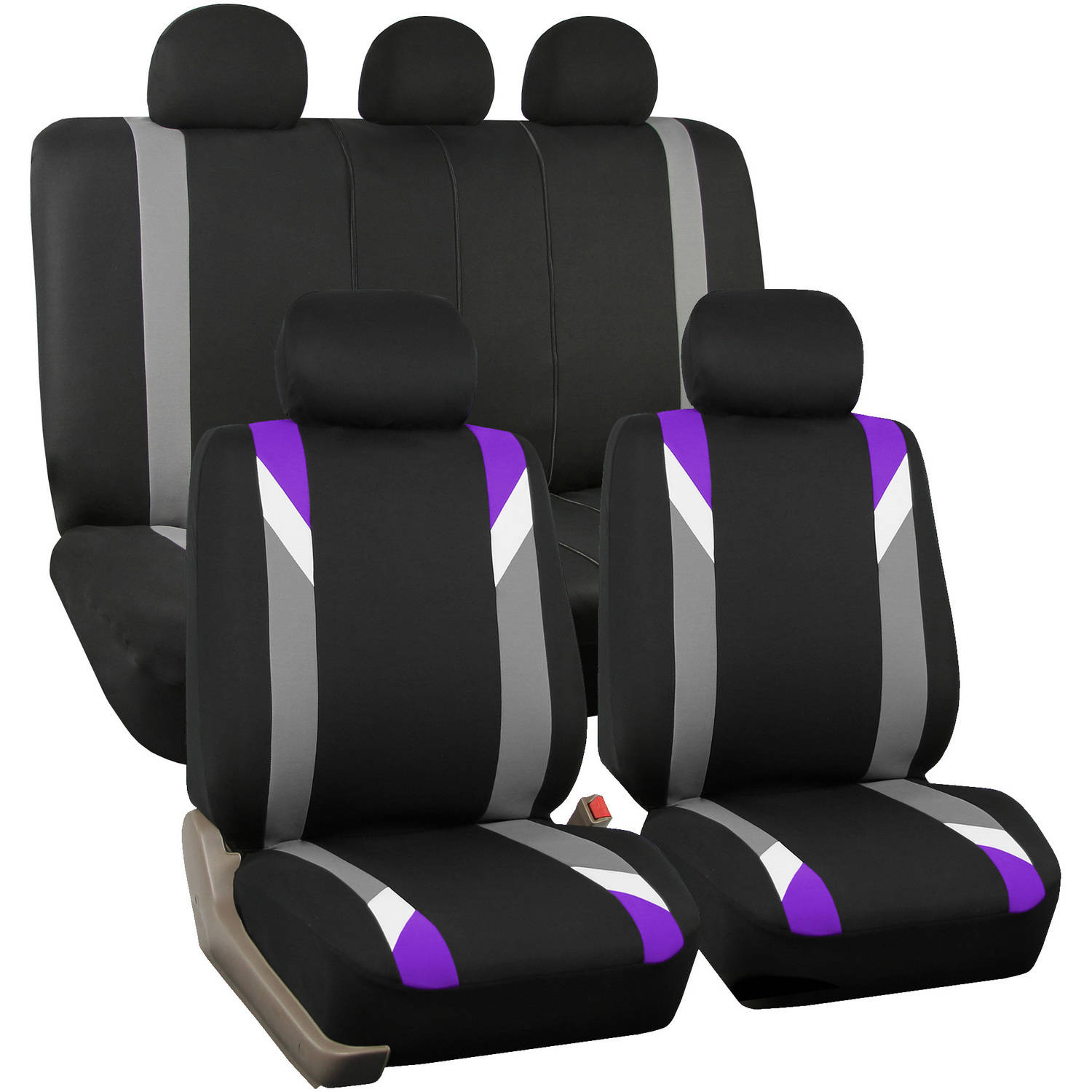 FH Group Airbag Compatible Modernistic Flat Cloth Full Set Seat Covers, Purple