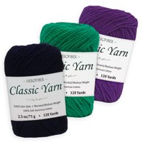 Cotton Yarn - 3 Solid Colors [2.5 oz Each]   Navy Dark + Green Shamrock + Purple Royal   Worsted/Medium Weight - Assortment for Knitting, Crochet, Needlework, Decor, Arts & Crafts Projects