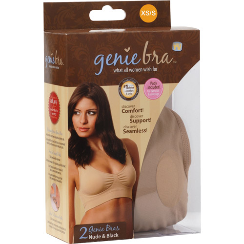 As Seen on TV Genie Bra Small, Black/Nude, 2-Pack