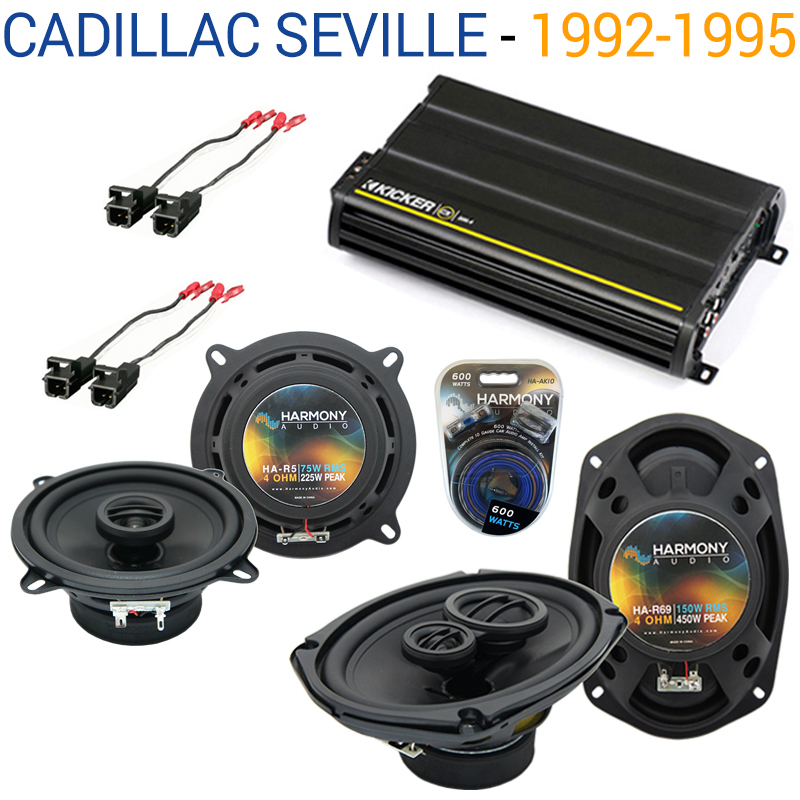 Cadillac Seville 1992-1995 OEM Speaker Upgrade Harmony R5 R69 & CX300.4 Amp - Factory Certified Refurbished