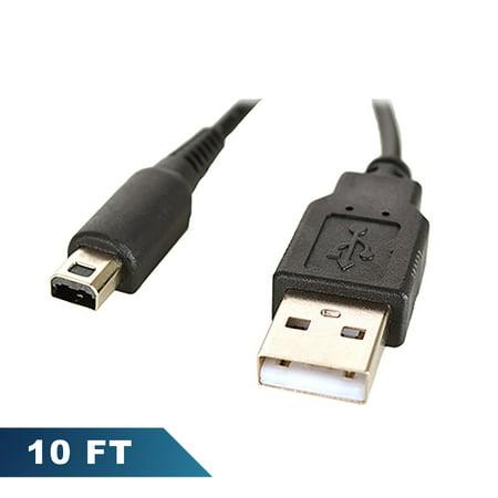 For Nintendo 3DS 10 ft USB Charge Cable Bulk (10' 3DSXL Bulk Black