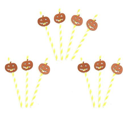Halloween Pumpkins Photos (10 Pcs Halloween Horror Spider Skull Pumpkin Bat Paper Drinking Straw Halloween Decoration Photo Props;10 Pcs Halloween Horror Paper Drinking Straw Halloween Decor Photo)