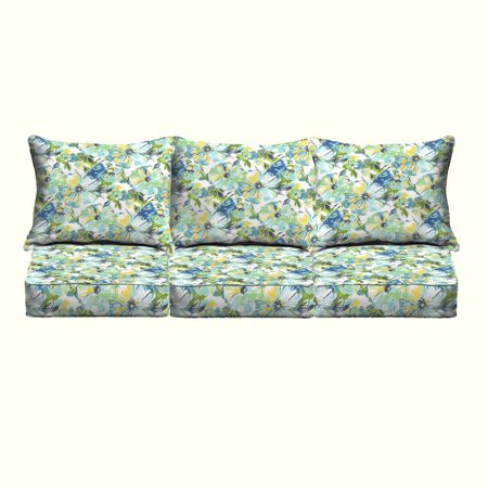 Humble and Haute Perryn Green/ Blue Floral Indoor/ Outdoor Corded Pillow and Cushion 6-pc Sofa Set ()