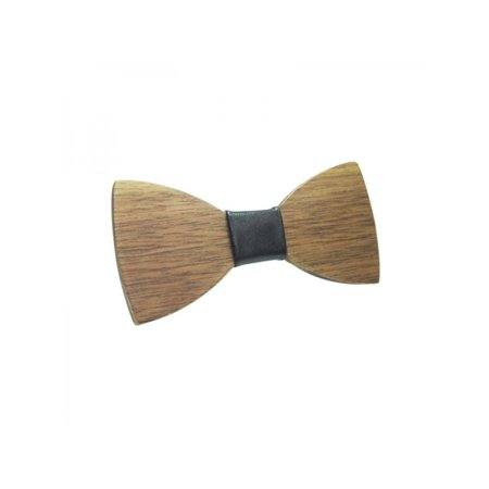 VICOODA Wedding Party Classic Pre-Tied Bow Tie Wooden Cravat Formal Solid Tuxedo for Children Adjustable Length