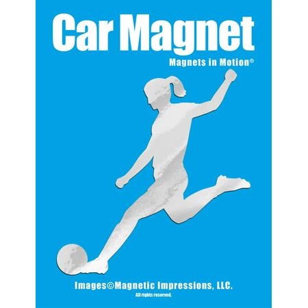 Soccer Player Female Kick Car Magnet Chrome
