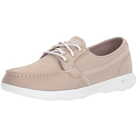 Skechers Performance Women's Go Walk Lite Eclipse Boat Shoe,Natural,7.5 M US