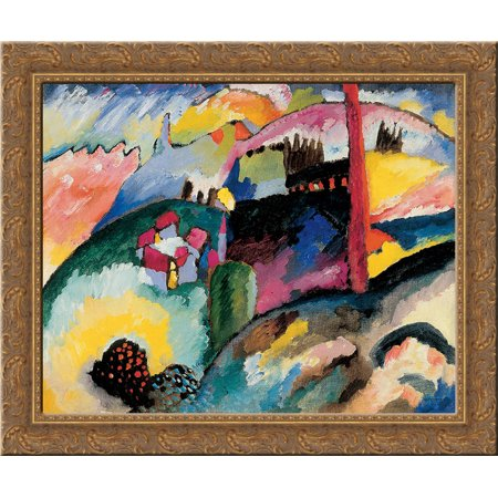 Wood Chimney - Landscape with factory chimney 24x20 Gold Ornate Wood Framed Canvas Art by Wassily Kandinsky