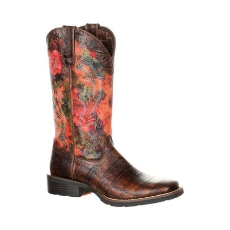 Women's Durango Boot DRD0226 Mustang Faux Exotic Pull-on Cowgirl Boot](Light Up Cowgirl Boots)