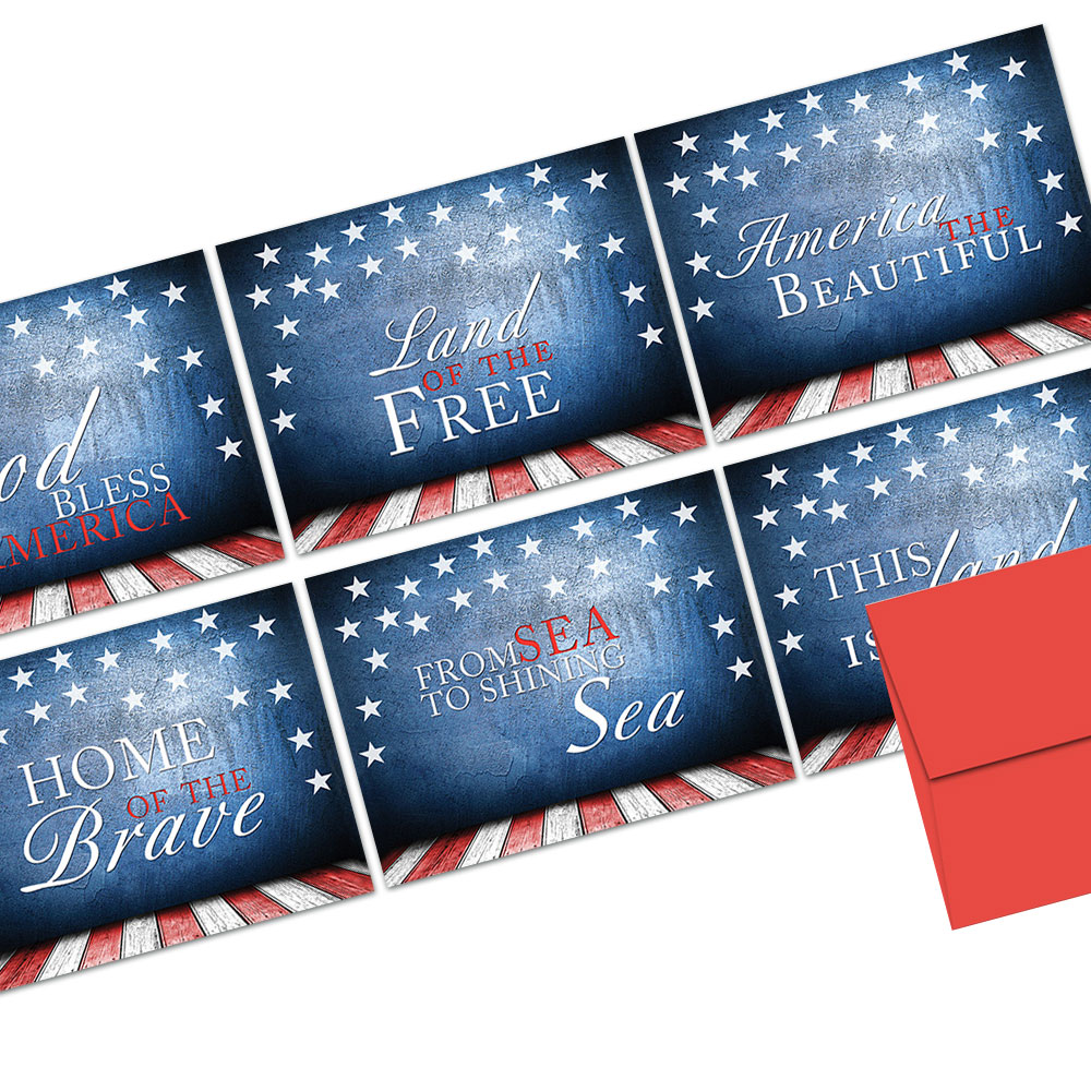 72 Note Cards  - Patriotic Phrases - 6 Designs - Red Envelopes Included