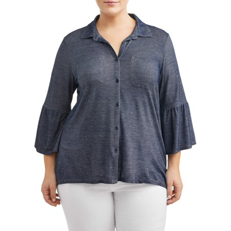 - Women's Plus Size Hi-Lo Peplum Sleeve Denim Jersey Top