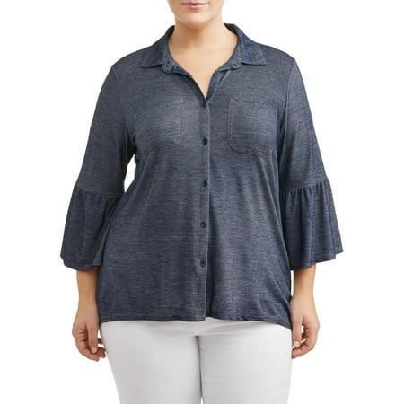 Women's Plus Size Hi-Lo Peplum Sleeve Denim Jersey
