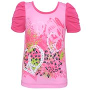 Lipstik Girls Pink Studded Peace Ruched Short Sleeved Top 8-10