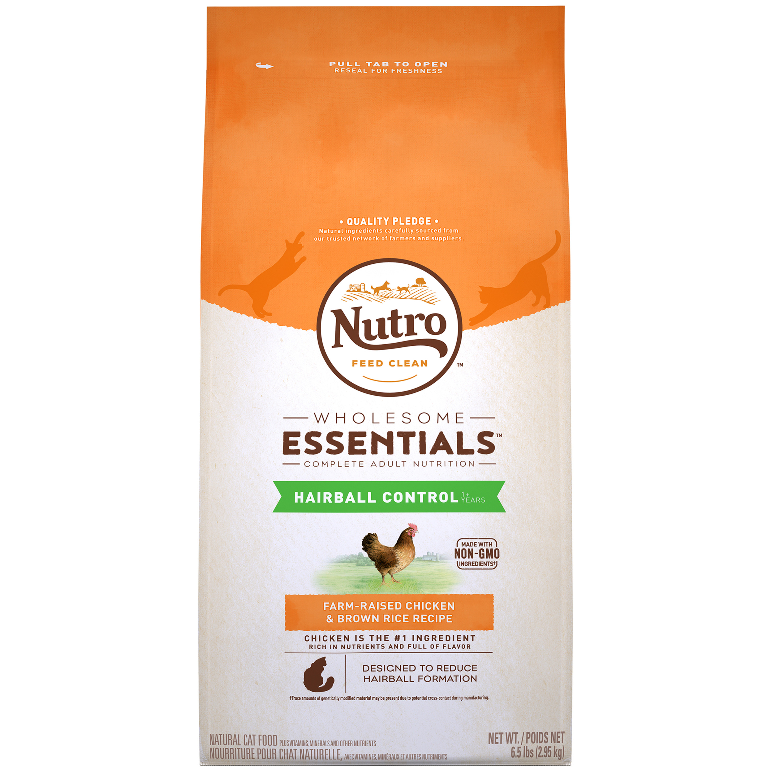 Nutro Wholesome Essentials Hairball Control Farm-Raised Chicken & Brown Rice Adult Dry Cat Food, 6.5 lb