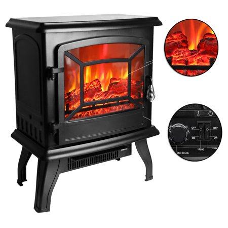 Zimtown Free Standing Electric 1400W Fireplace Heater Fire Flame Stove Wood