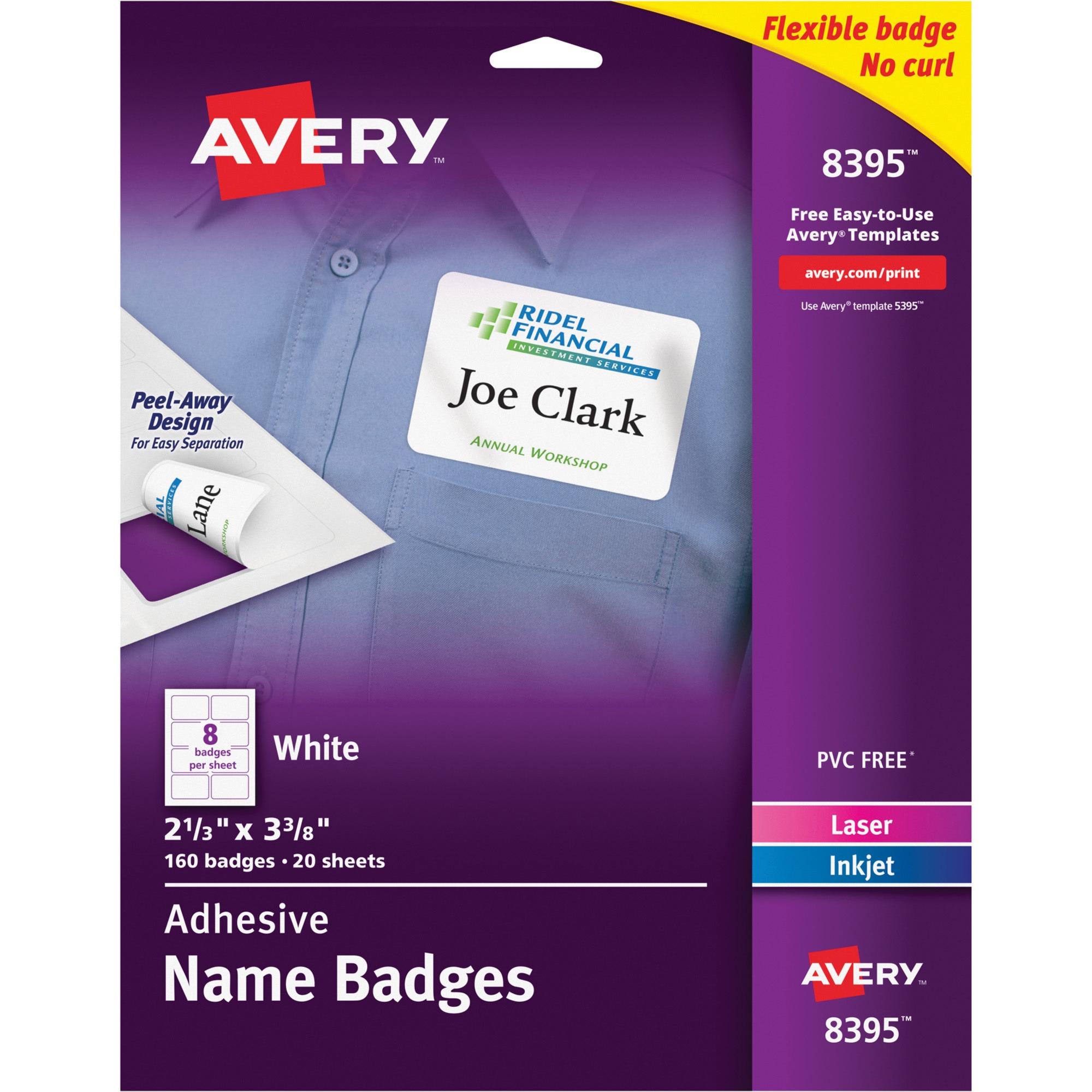 Avery Flexible Self-Adhesive Laser/Inkjet Name Badge Labels, 2 1/3 x 3 3/8, WE, 160/PK