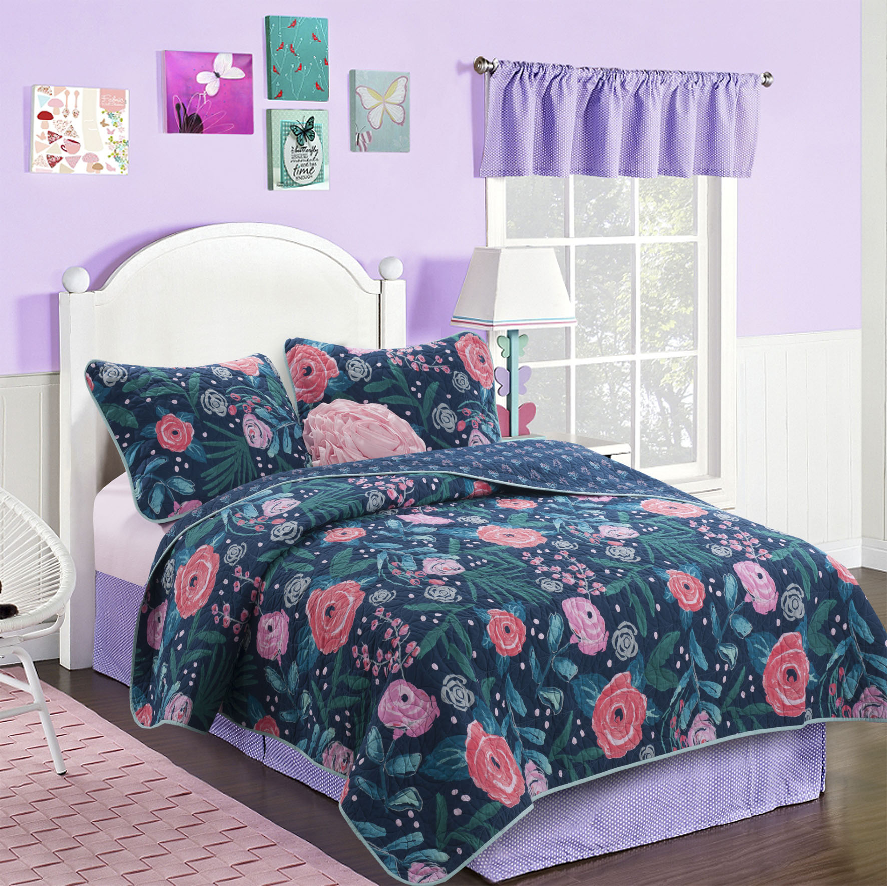 Better Homes and Gardens Kids Rose Garden Quilt Set