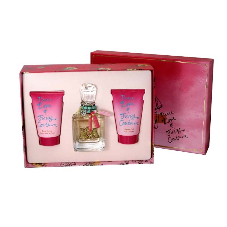 Peace Love & Juicy Couture 3 Pc. Gift Set ( Eau De Parfum Spray 3.4 Oz + Body Cr╚me 4.2 Oz + Shower Gel 4.2 Oz ) for Women