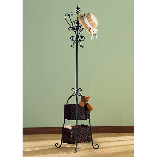 Hall Tree with Rattan Storage, Black