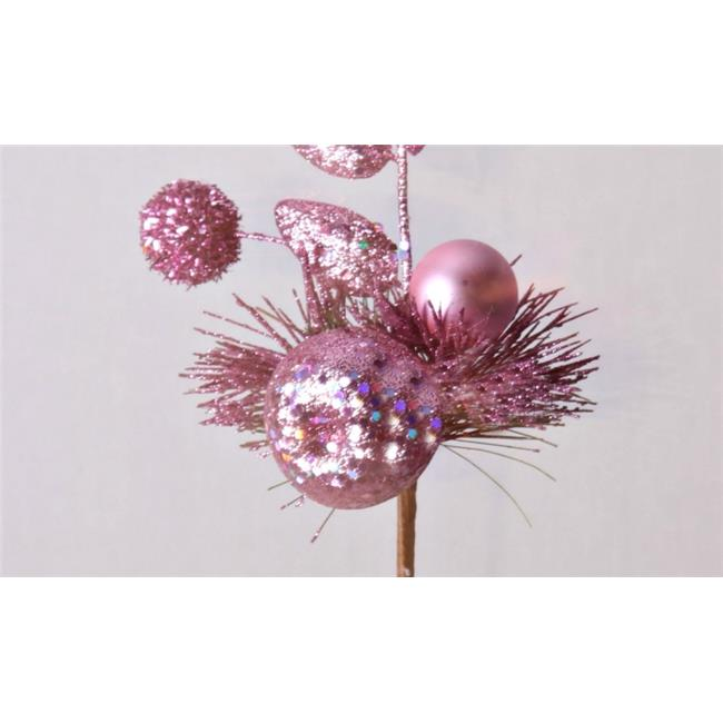 Winterland WL-PCK11-AP-PI Pink Glittered Christmas Pick With Apple & Ball