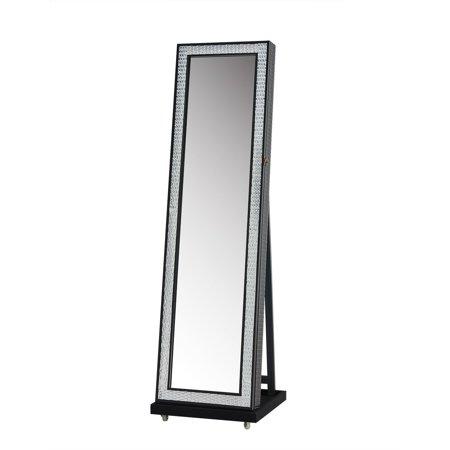 Jeco Black-framed Freestanding 58-inch Full-length Mirror Jewelry ...