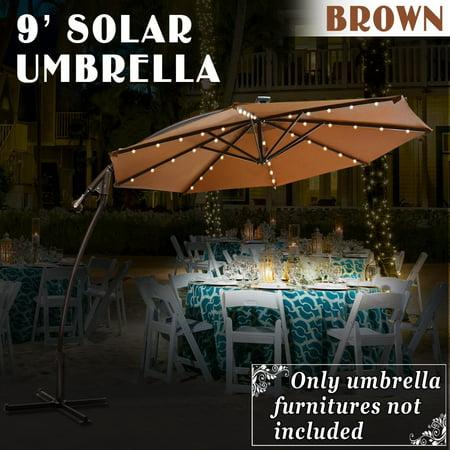 9 ft Cantilever Solar Powered LED Light Patio Offset Hanging Umbrella Outdoor Garden Brown