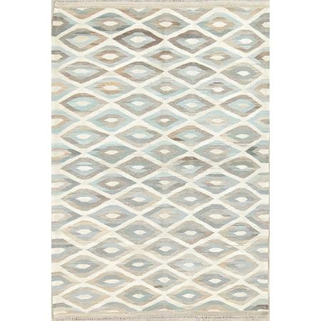 Geometric Modern Kilim Turkish Oriental Hand Woven Ivory Wool Area Rug 4