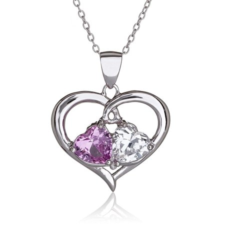 Womens Sterling Silver Double Heart with Created Pink Sapphire Necklace