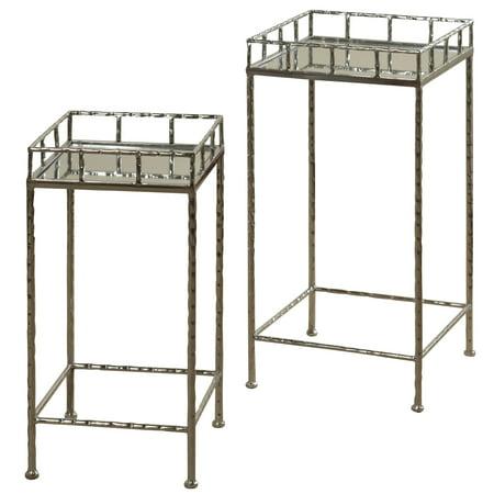 GwG Outlet Set of 2 Nested Side Tables in Silver Leaf Finish ()