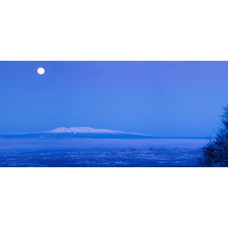 Scenic View Of The Full Moon Over Mt Susitna During Winter Anchorage Southcentral Alaska Hdr Digitally Altered Canvas Art - Jeff Schultz Design Pics (22 x 10)