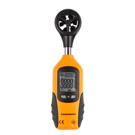 Digital Anemometer Thermometer Handheld Air Velocity Wind Speed Scale Gauge Tester Measurement Tool with Vane Sensor LCD Display for Sailing Fishing Kite Flying and Mountaineering in Yellow