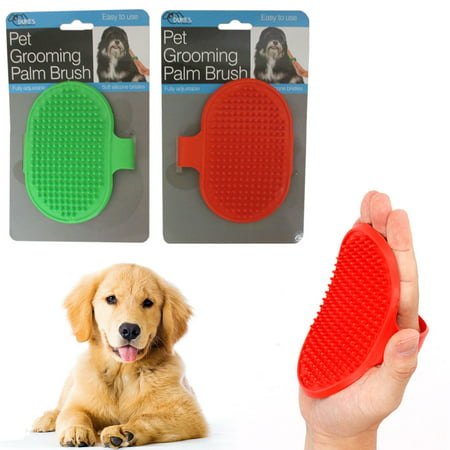- 2 Dog Pet Grooming Brush Comb Hair Soft Scrubber Rubber Oval Strap Bath Handle